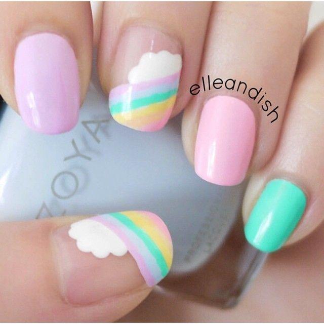 Rainbow Pastel Nails