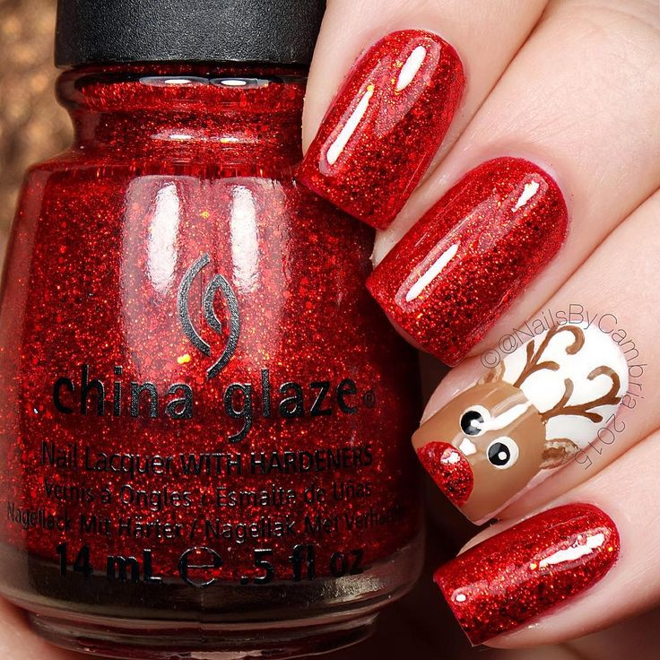 Red Glitter Nails