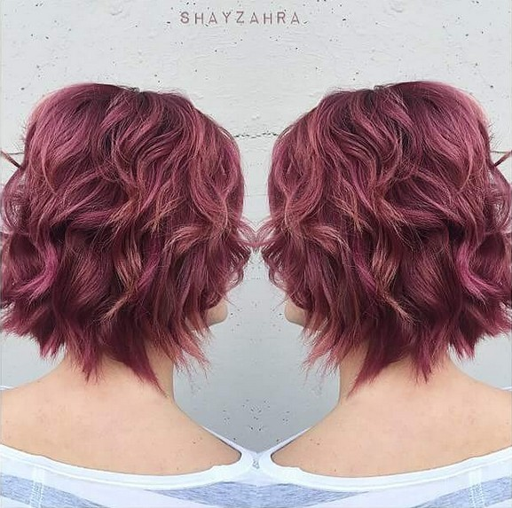 Red Wavy Bob Hairstyle