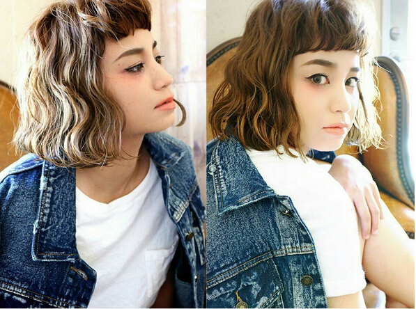 Short Curly Bob for Asian Girls