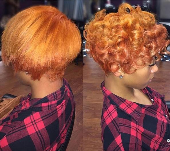 Short Curly Hairdo for Orange Hair