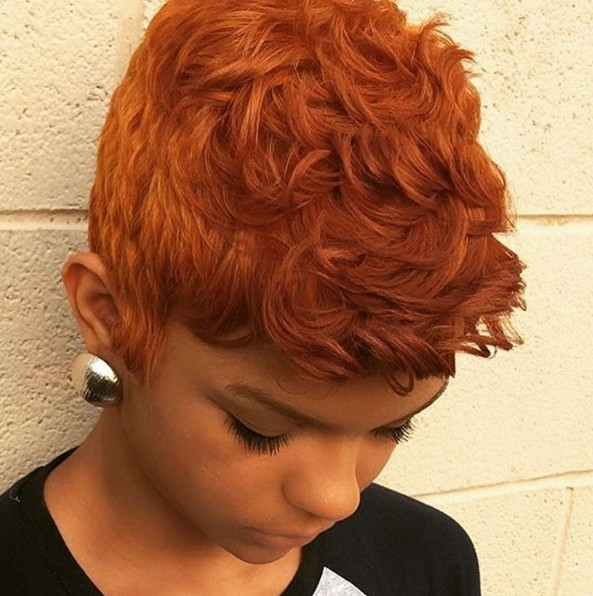 Short Curly Hairstyle for Copper Hair