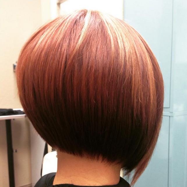 Short Redhead - Back view of Graduated Bob Hairstyles
