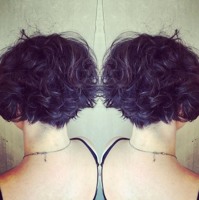 Short curly graduated bob hairstyle