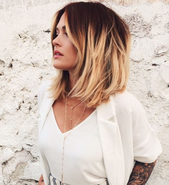 Short dark red to blonde ombre bob hairstyle