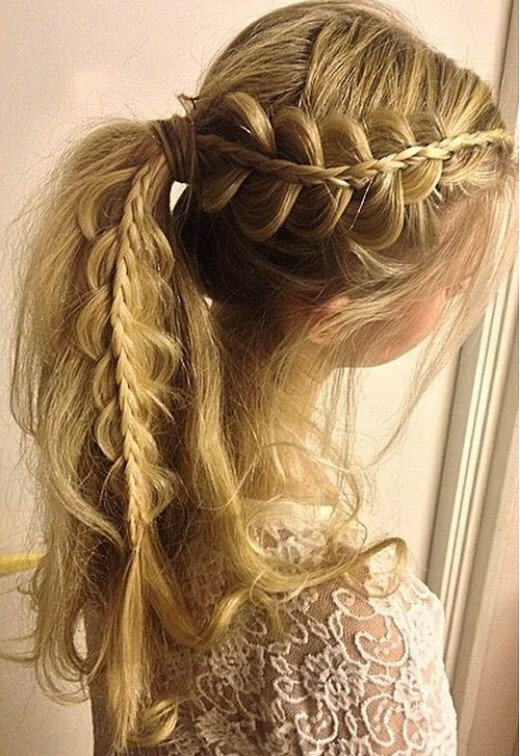Side Lacey Braid Ponytail Hairstyle