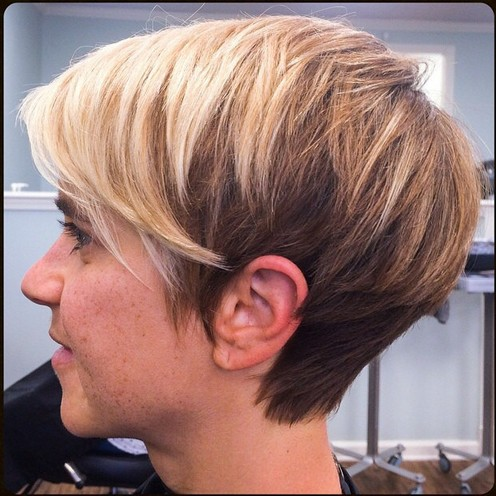 Side View of short pixie cut for fine hair