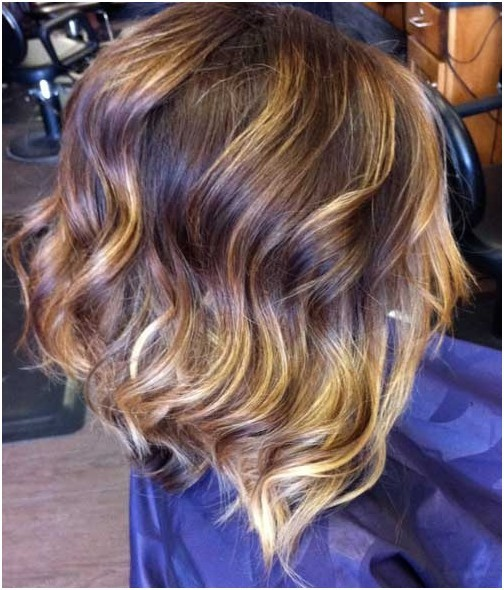 Side view of wavy bob cut for thick hair