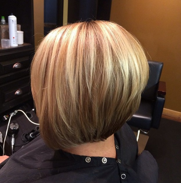 Long bob haircut with fringe