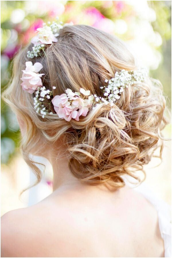 Wedding Updo Hairstyle with Flowers