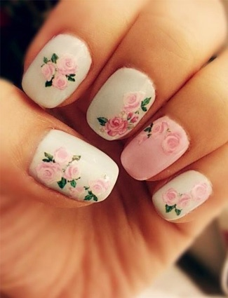 White Nails with Roses