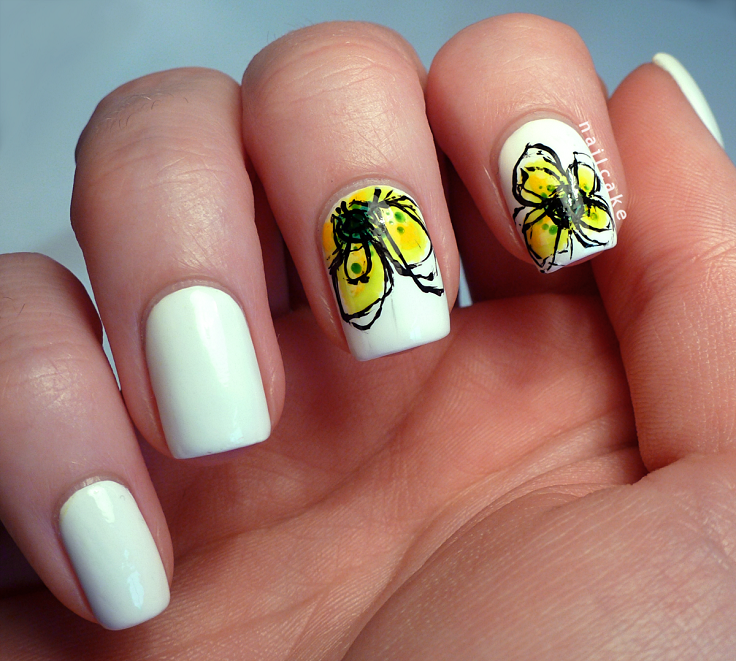 White Nails with Yellow Flowers