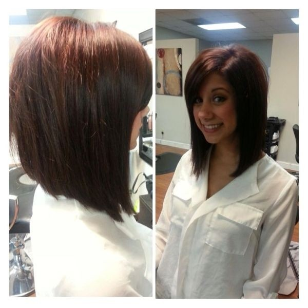 Angled Brunette Red Long Bob Hairstyle