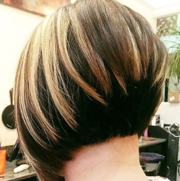 back view of graduated bob hairstyles