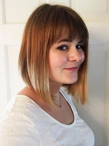 Inverted A Line Ombre Bob Hairstyle With Blunt Bangs