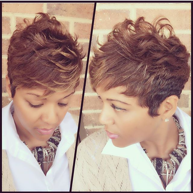 layered curly pixie cut for black women