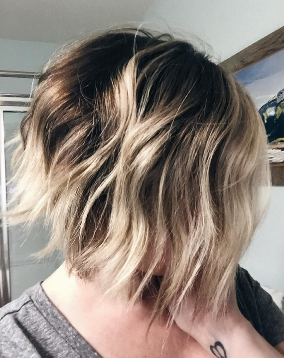 layered messy ombre bob haircut for women