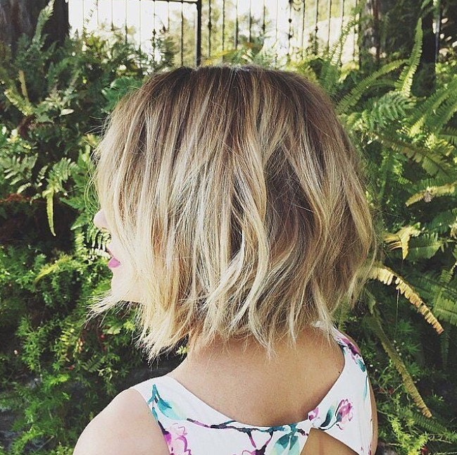 layered short choppy bob hairstyle