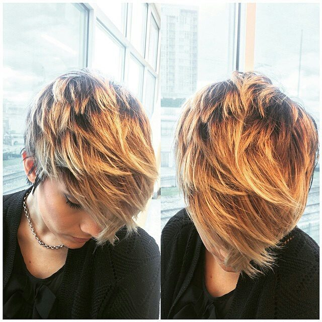 layered short ombre pixie cut - hair color ideas