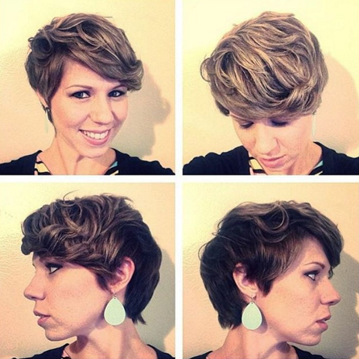 long curly pixie hairstyle with bangs