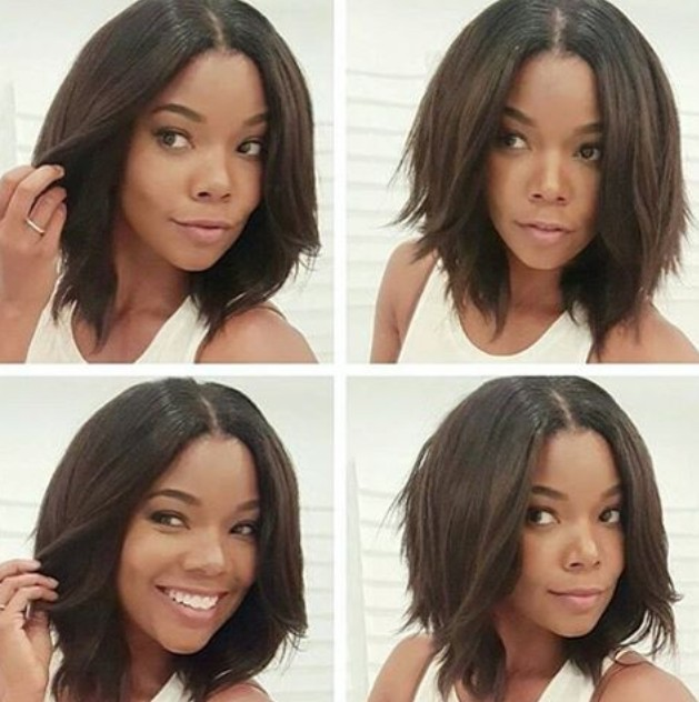 medium choppy bob hairstyle for black women