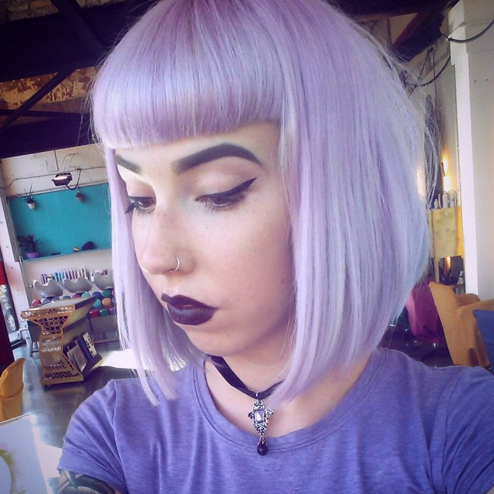 pastel bob haircut with bangs for short hair