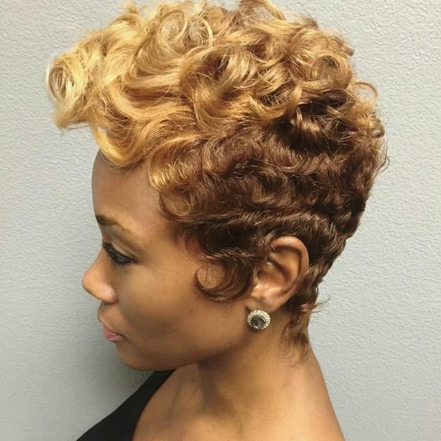 permed short haircut for black women