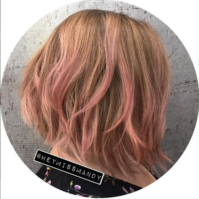 pink graduated bob hairstyle