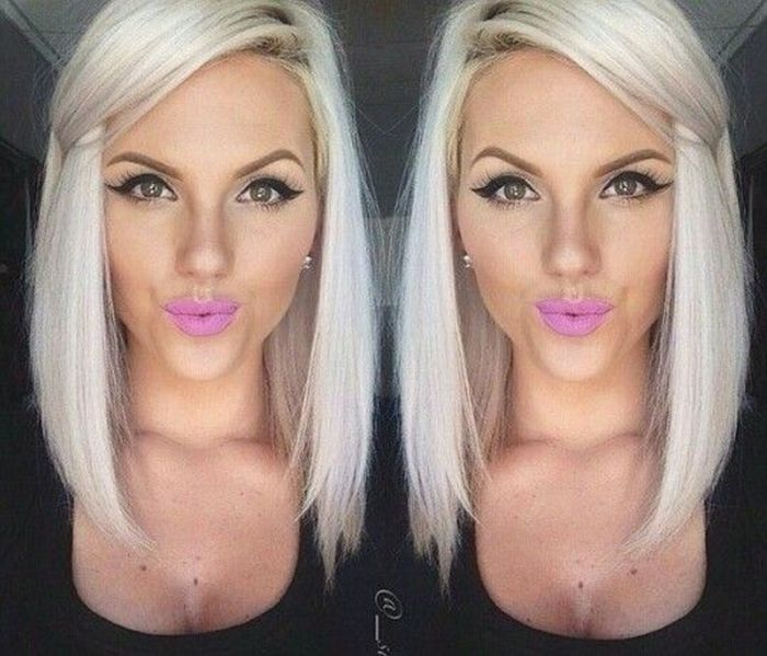 platinum blonde lob hairstyle for women