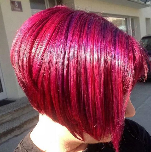 redhead - layered angled red bob haircut