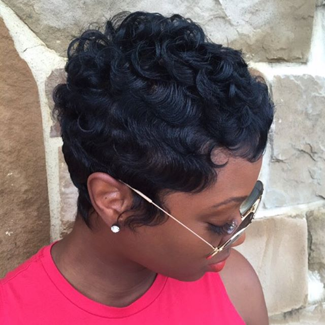 short curly pixie cut for black women