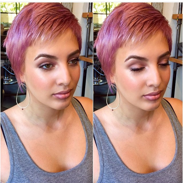 short purple pixie cut for fine thin hair
