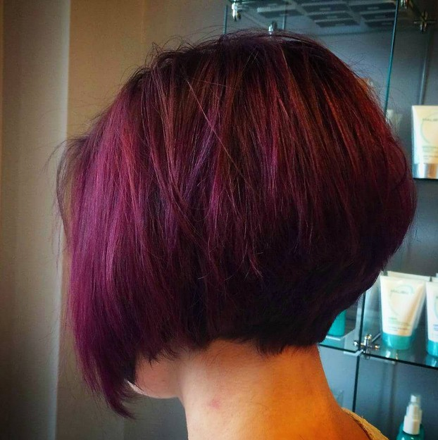 short purple stacked bob haircut