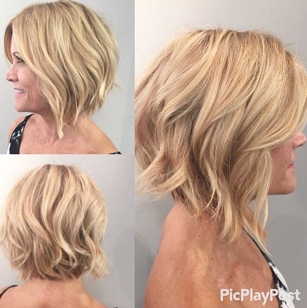 soft wavy graduated bob hairstyle for women over 50