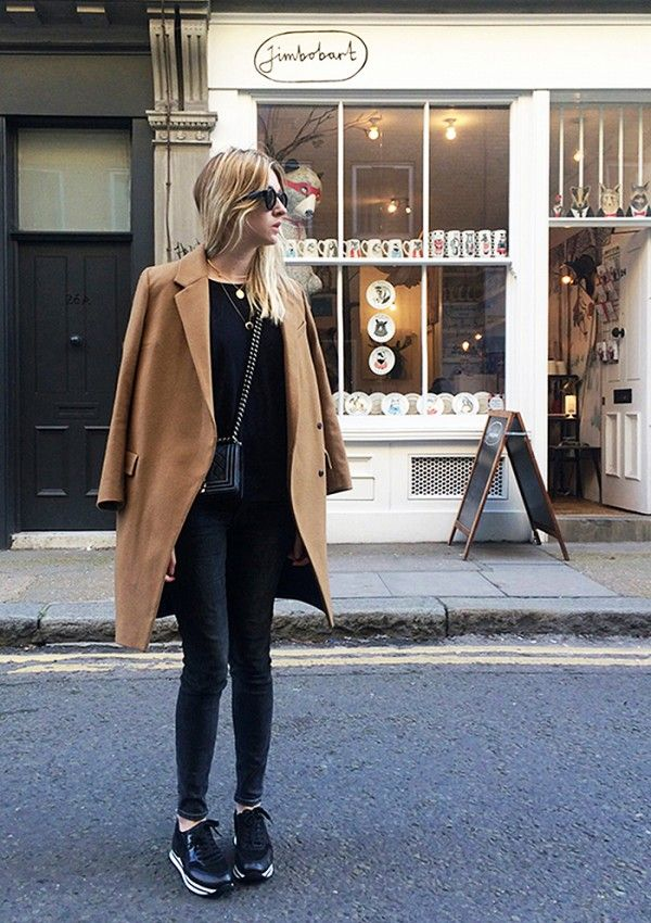 All-black Outfit and Camel Coat