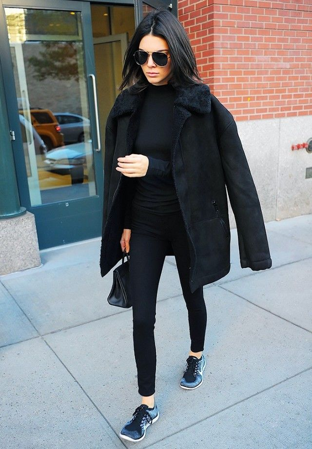 Black Outfit and Sneakers