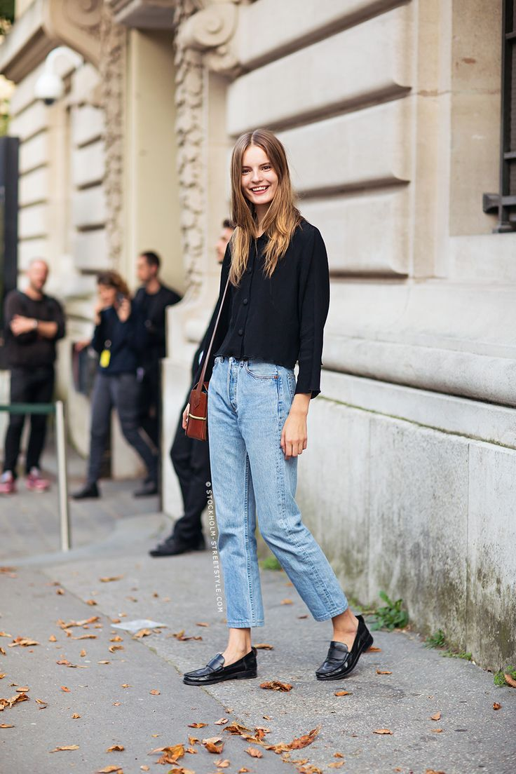 Black Top, Jeans and Black Loafers