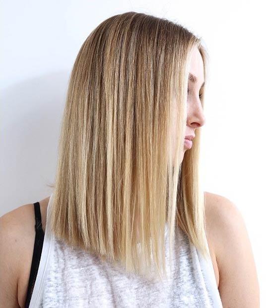 Blond Straight Lob Haircut