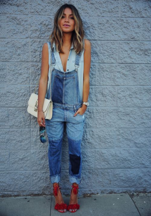 Blue Denim Overalls and Red Suede Heeled Sandals