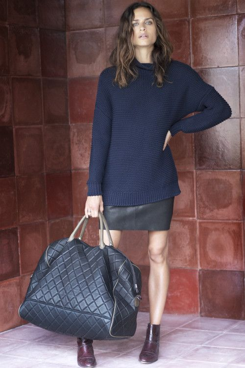 Blue oversized Sweater and Black Skirt