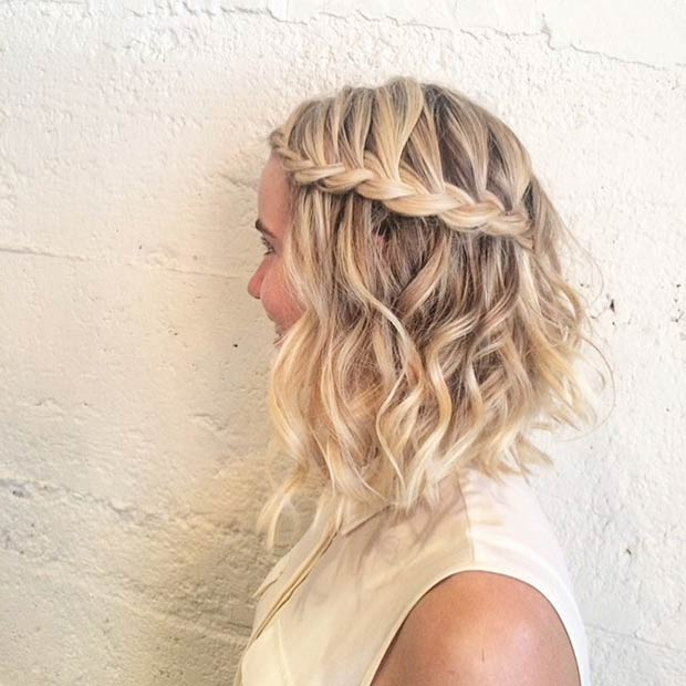 Braided Half Up Lob Hairstyle