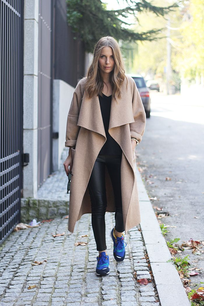 Camel Coat and Blue Shoes