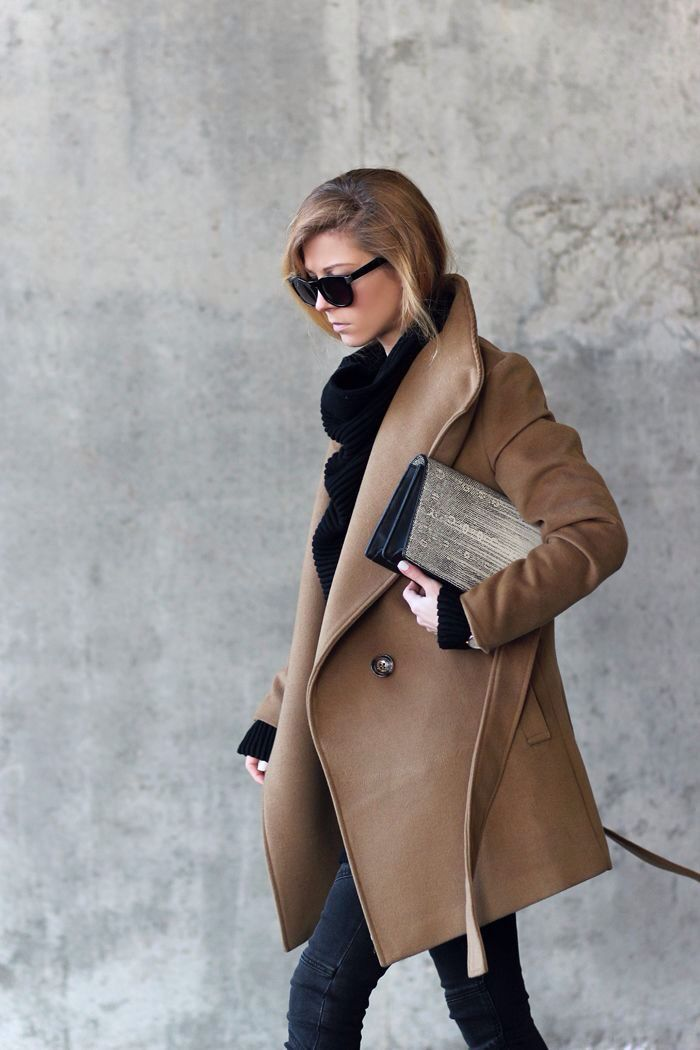 Camel Coat and Cozy Oversized Sweater