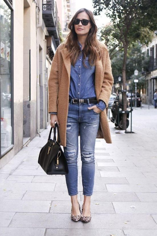 Camel Coat and Denim Outfit