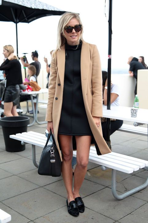 Camel Coat and Loafers