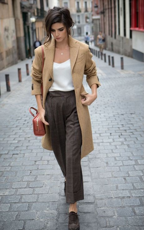 Camel Coat and Navy Pants