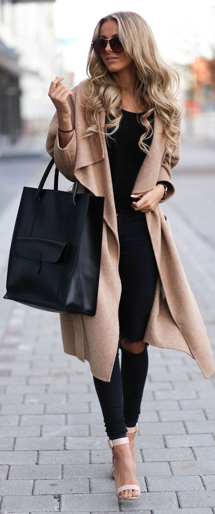 Camel Coat and Nude Strap Shoes