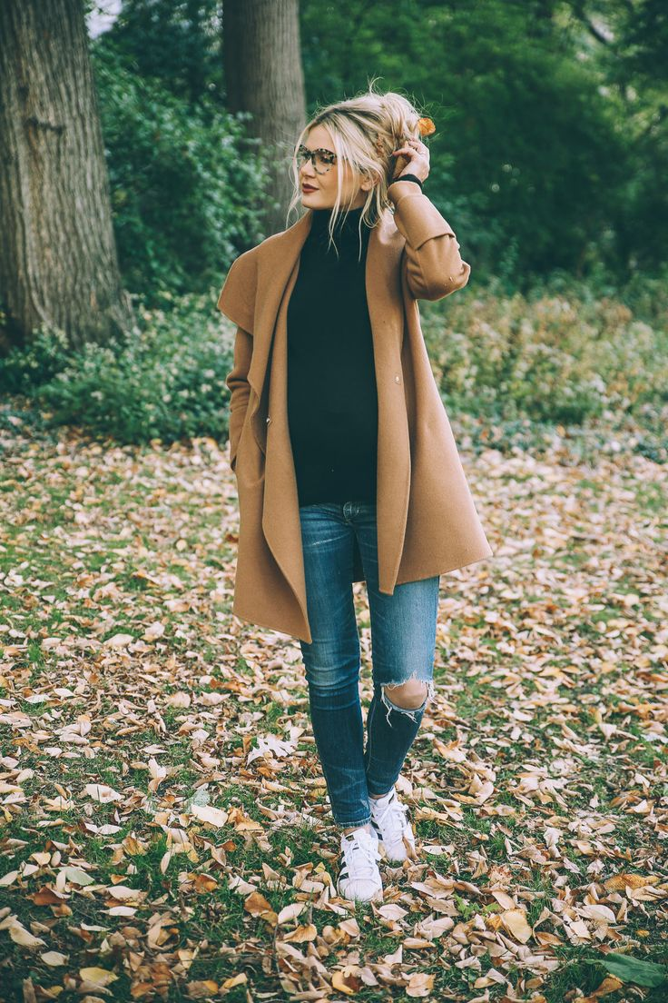Camel Coat and Turtleneck Sweater