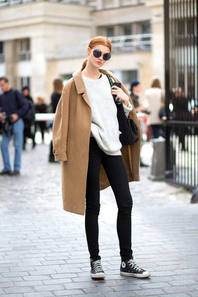 Camel Coat over the black-and-white outfit