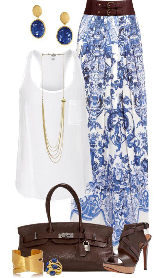 Casual Blue Maxi Skirt